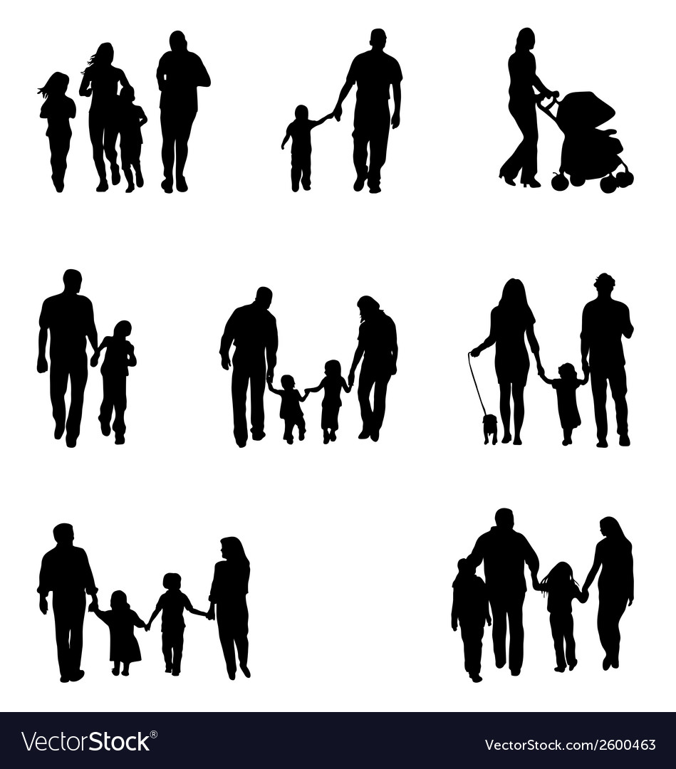 Family walking vector | Price: 1 Credit (USD $1)