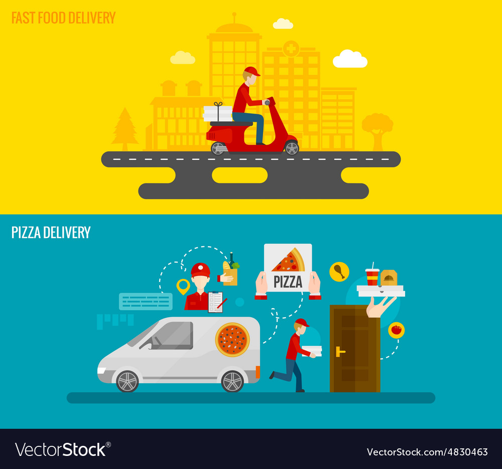 Fast food and pizza delivery banners vector