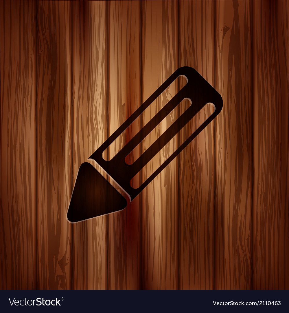 Pencil web icon wooden background vector | Price: 1 Credit (USD $1)