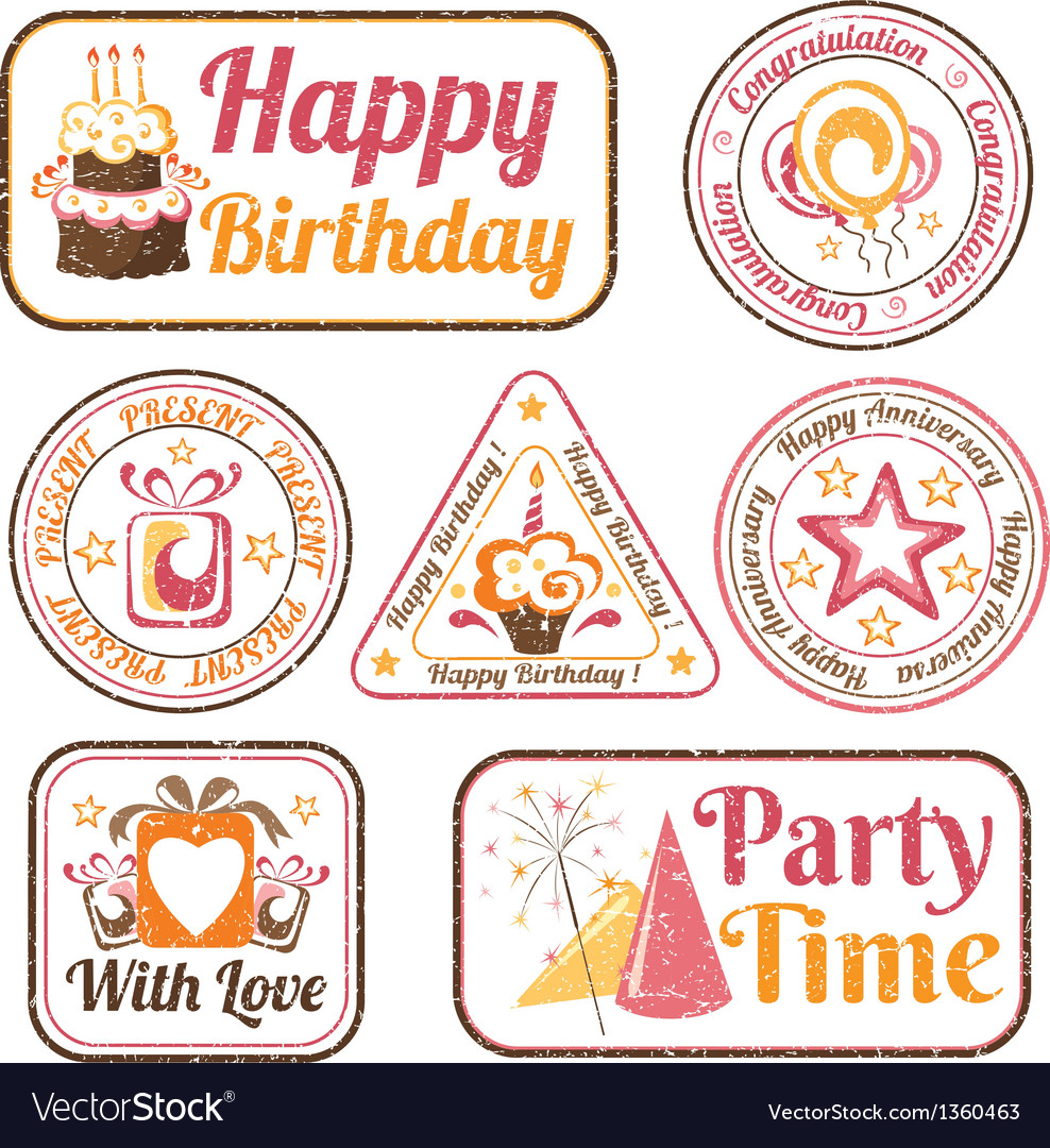 Set of celebration stamps vector | Price: 1 Credit (USD $1)