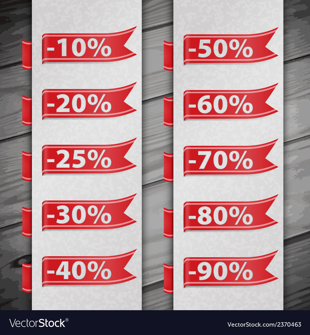Set of percent discount digits vector | Price: 1 Credit (USD $1)