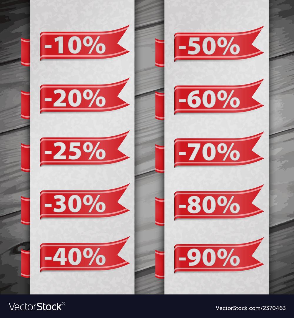 Set of percent discount digits vector | Price: 1 Credit (USD $1)