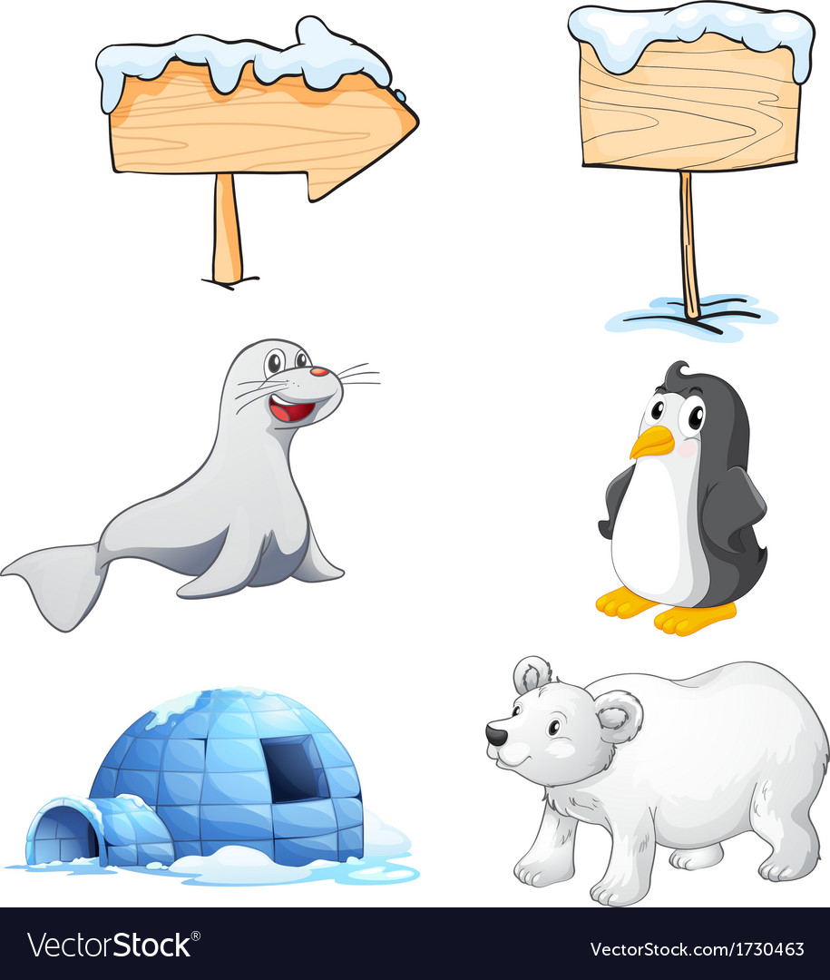 Signboards animals and an igloo at the north pole vector | Price: 1 Credit (USD $1)