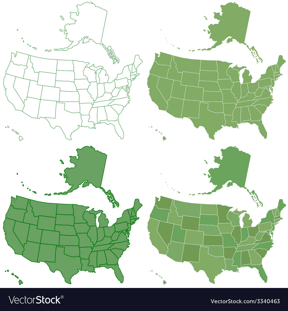 Usa map set vector | Price: 1 Credit (USD $1)