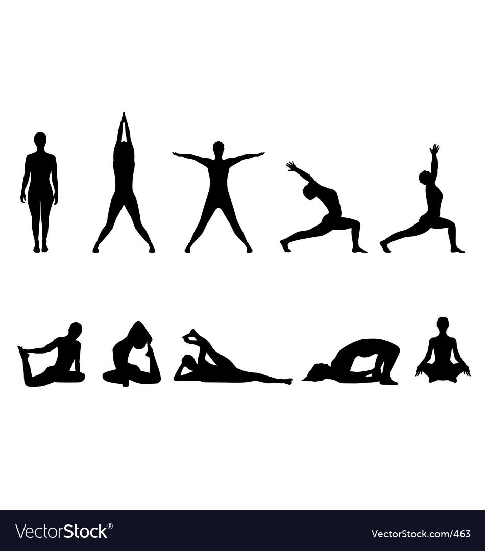 Yoga silhouettes vector | Price: 1 Credit (USD $1)