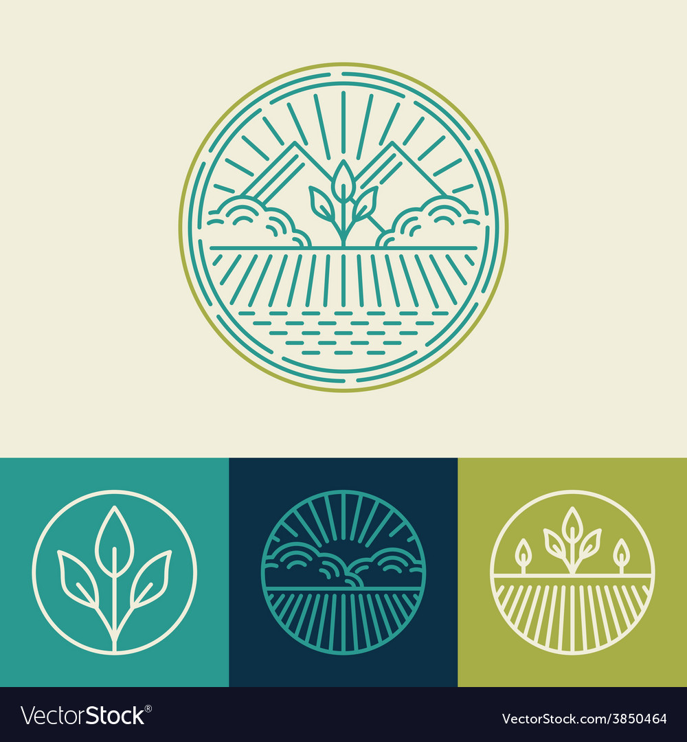 Agriculture and organic farm line logos vector