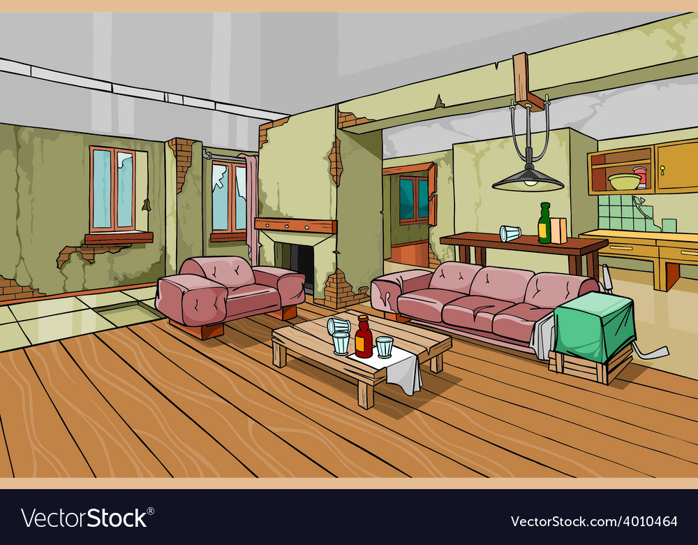 Cartoon old shabby apartment interior vector | Price: 3 Credit (USD $3)