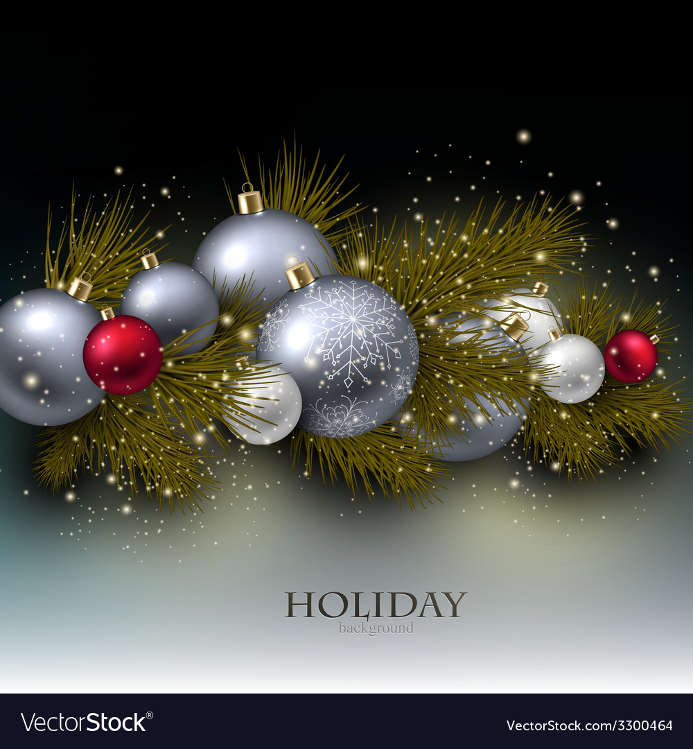 Christmas background with balls xmas baubles vector | Price: 3 Credit (USD $3)