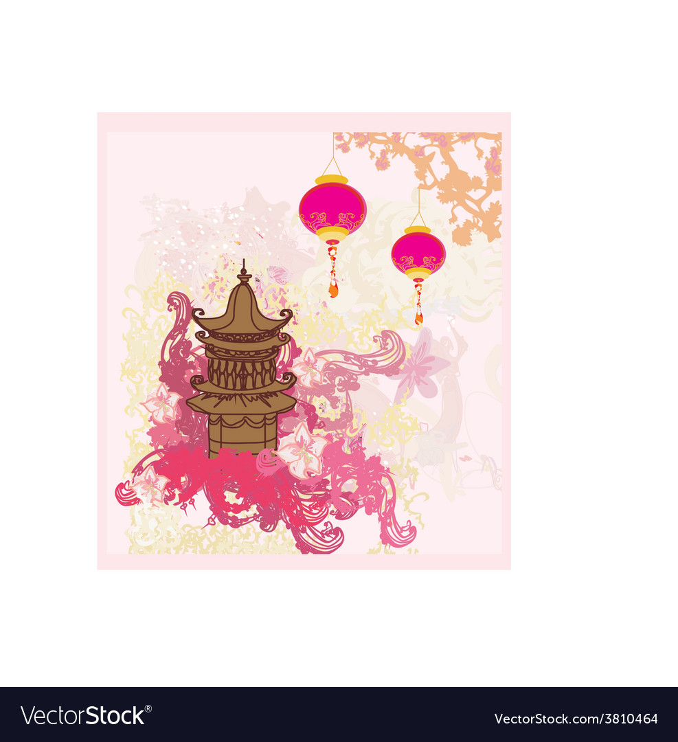 Decorative chinese landscape card vector | Price: 1 Credit (USD $1)