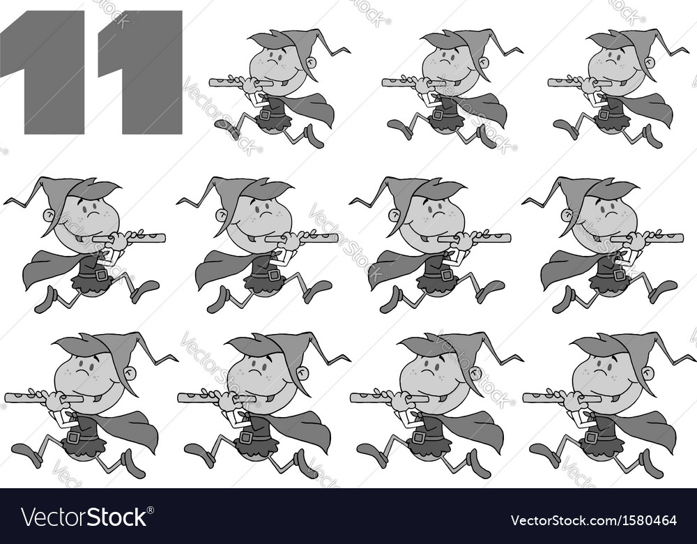 Eleven pipers piping vector | Price: 1 Credit (USD $1)