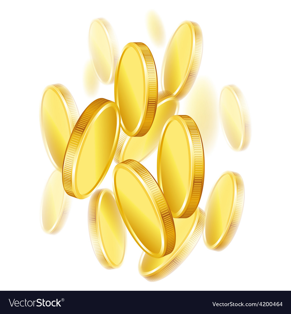 Falling gold shiny coins on white background vector | Price: 1 Credit (USD $1)