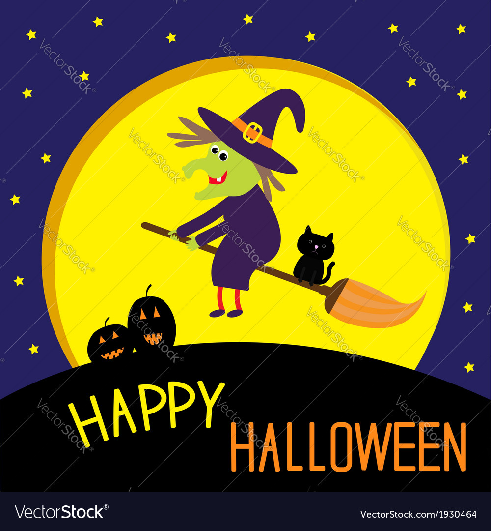 Flying cartoon witch and cat big moon halloween vector   Price: 1 Credit (USD $1)