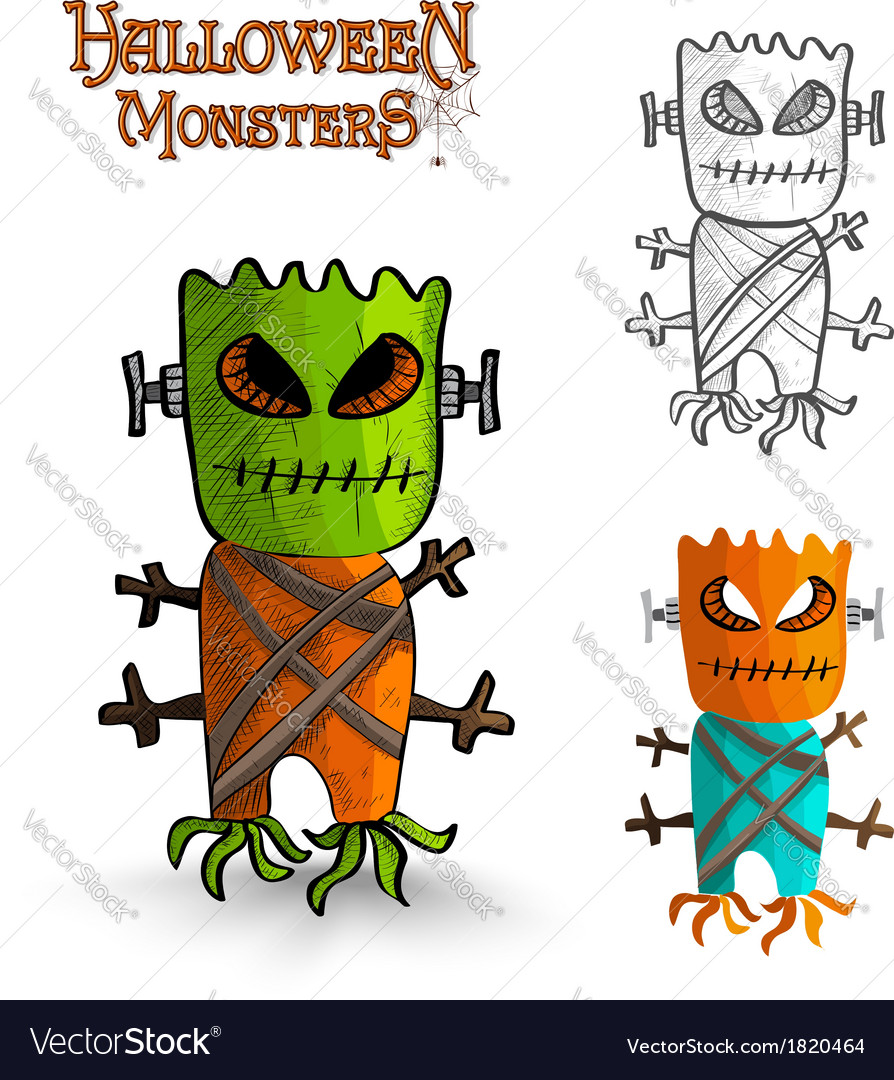 Halloween monsters scary mask trunk freak eps10 vector | Price: 1 Credit (USD $1)