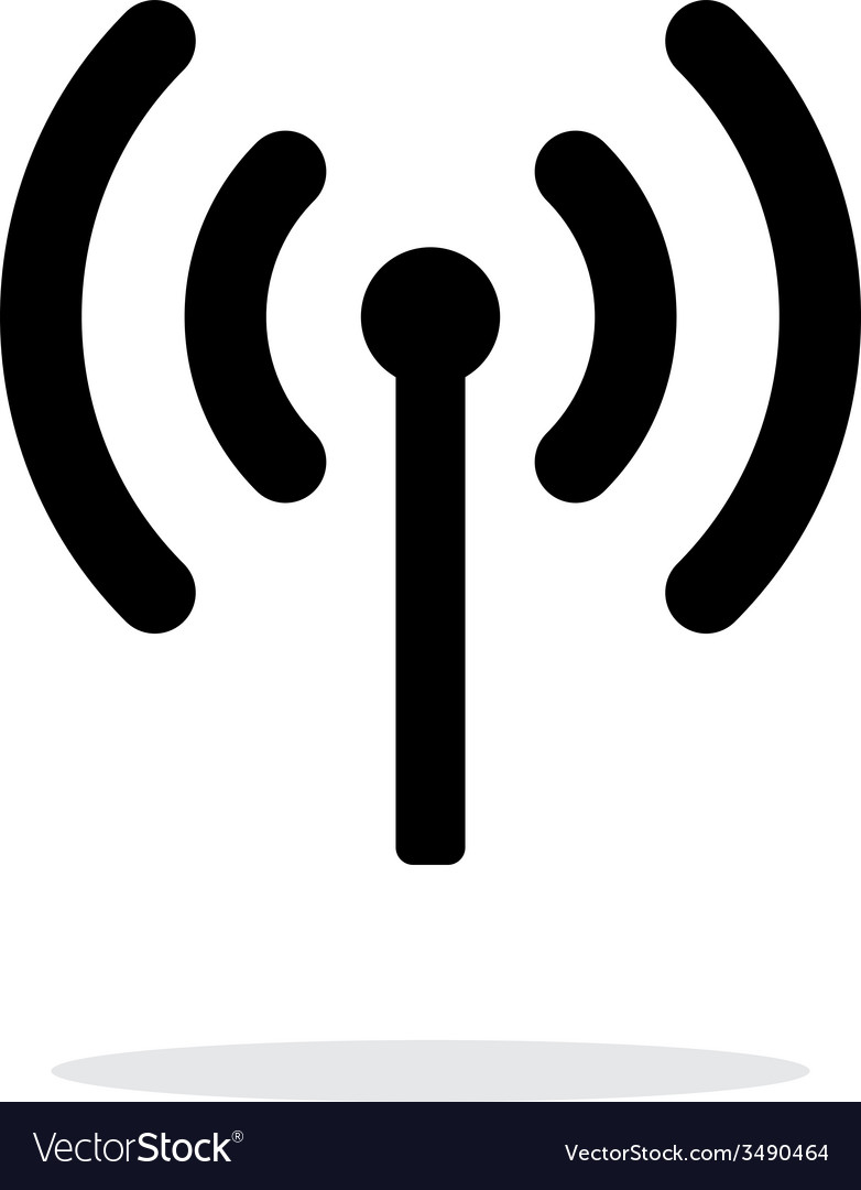 Radio antenna sending signal icon on white vector | Price: 1 Credit (USD $1)