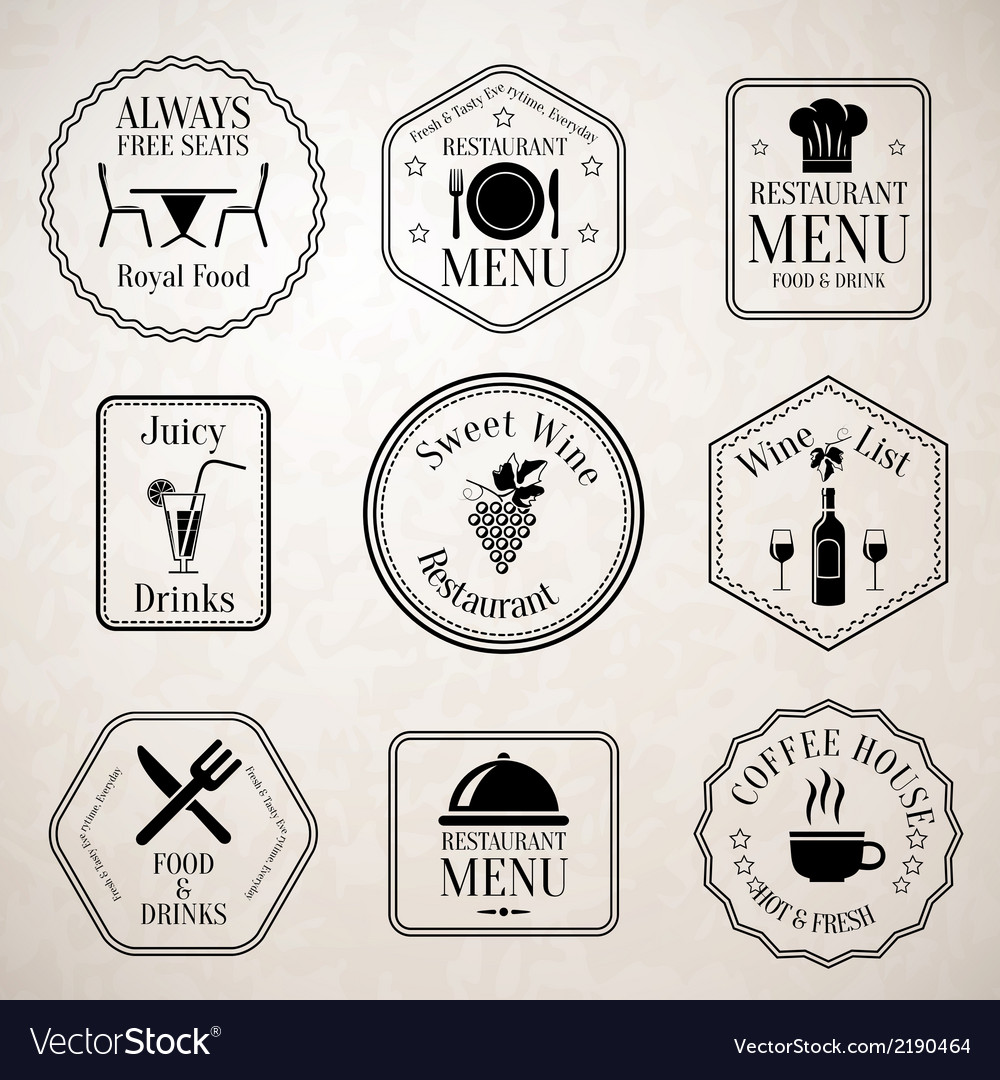 Restaurant menu labels black vector | Price: 1 Credit (USD $1)