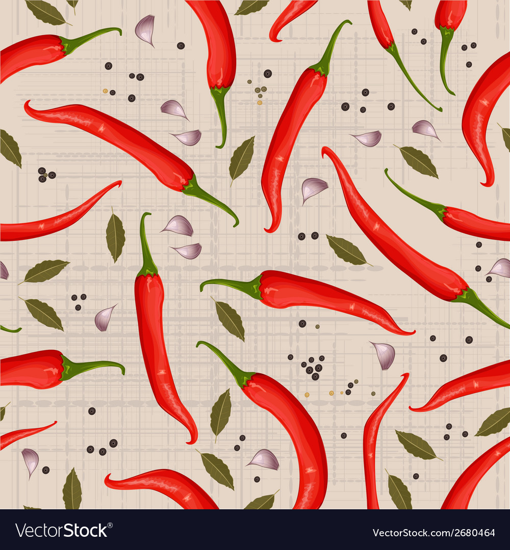 Seamless texture of hot pepper vector | Price: 1 Credit (USD $1)