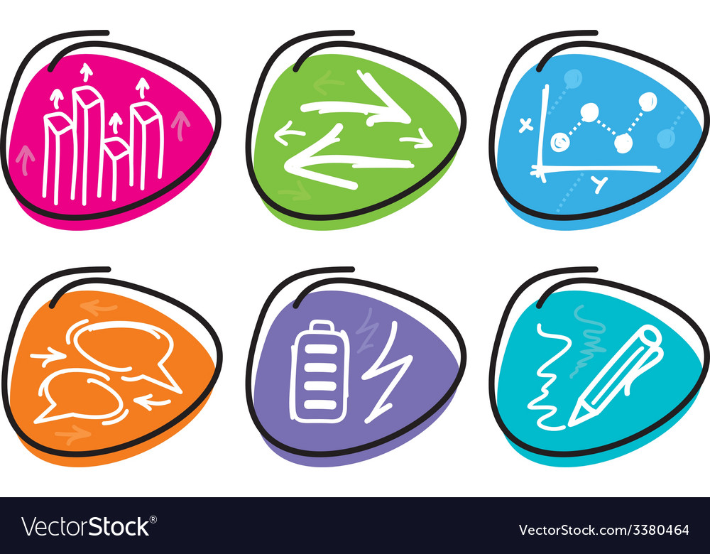 Set of drawing finance stickers icon vector | Price: 1 Credit (USD $1)