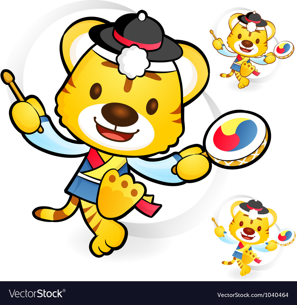 Tiger korean dance mascot vector | Price: 1 Credit (USD $1)