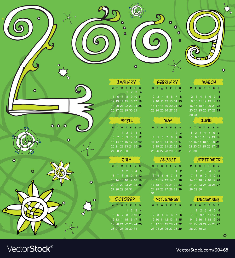 2009 curly calendar starts monday vector | Price: 1 Credit (USD $1)