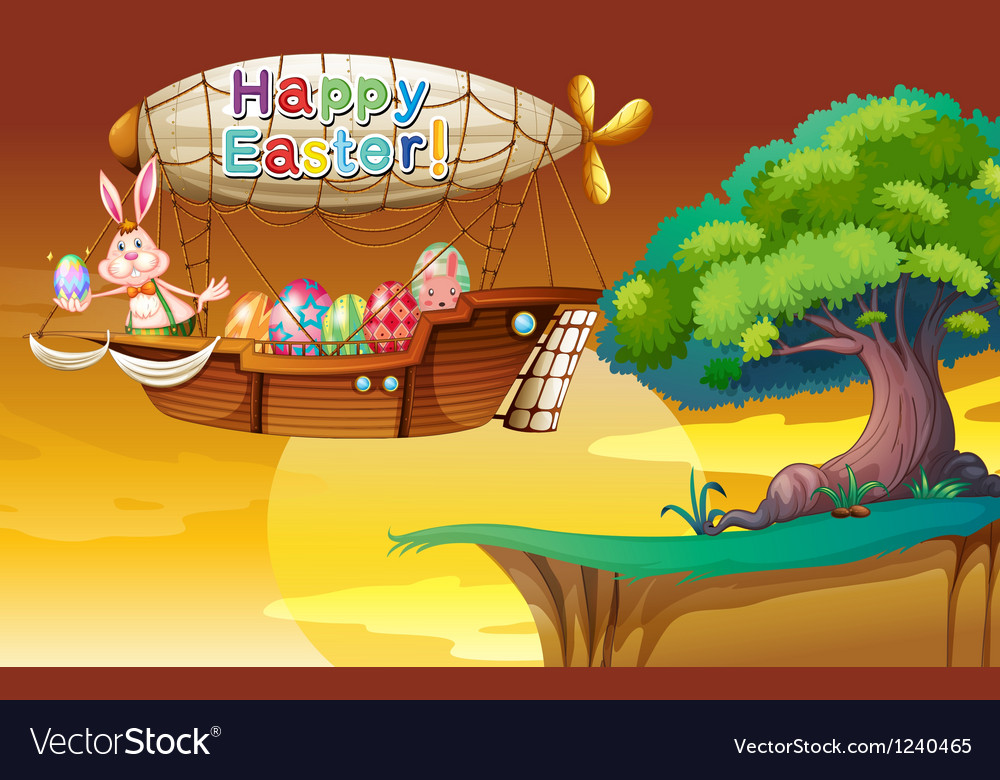 A bunny holding an egg in the airship vector | Price: 1 Credit (USD $1)