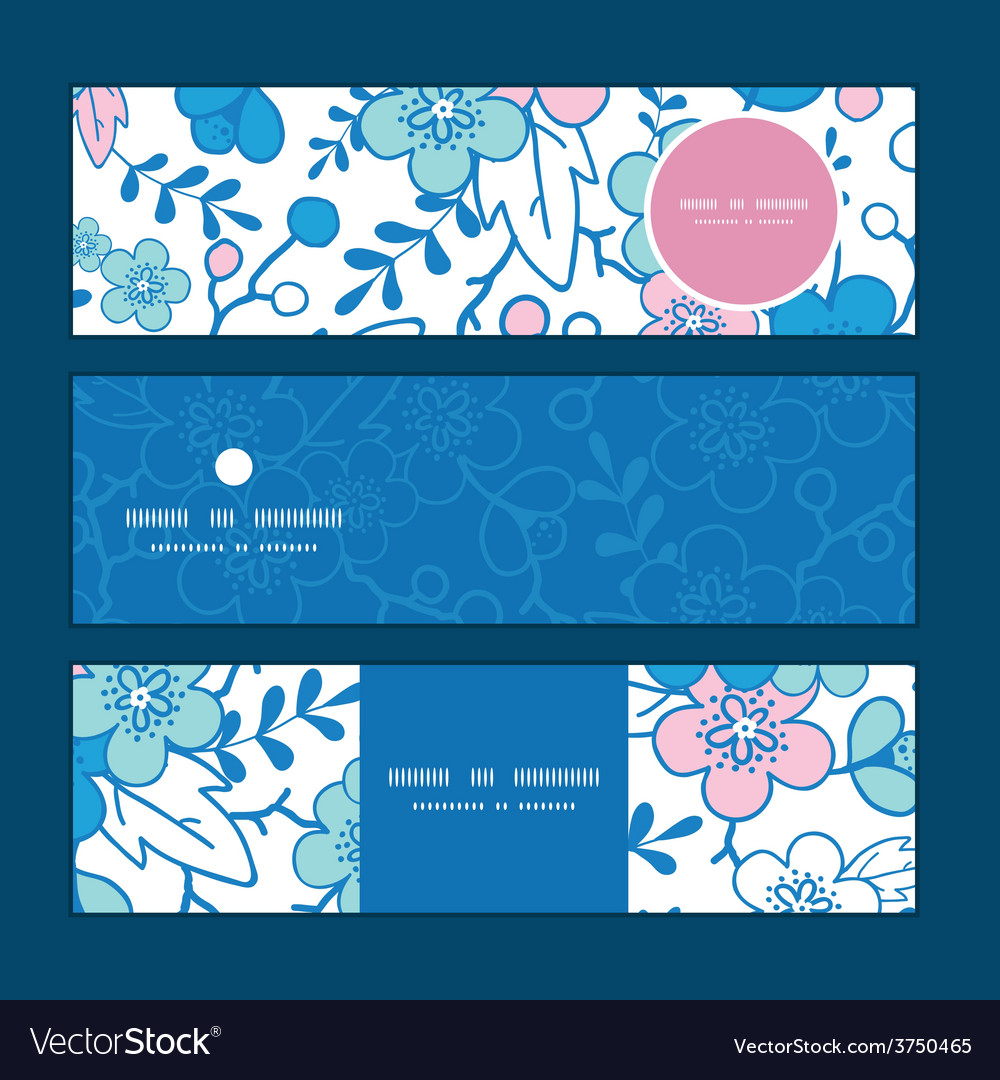 Blue and pink kimono blossoms horizontal vector | Price: 1 Credit (USD $1)