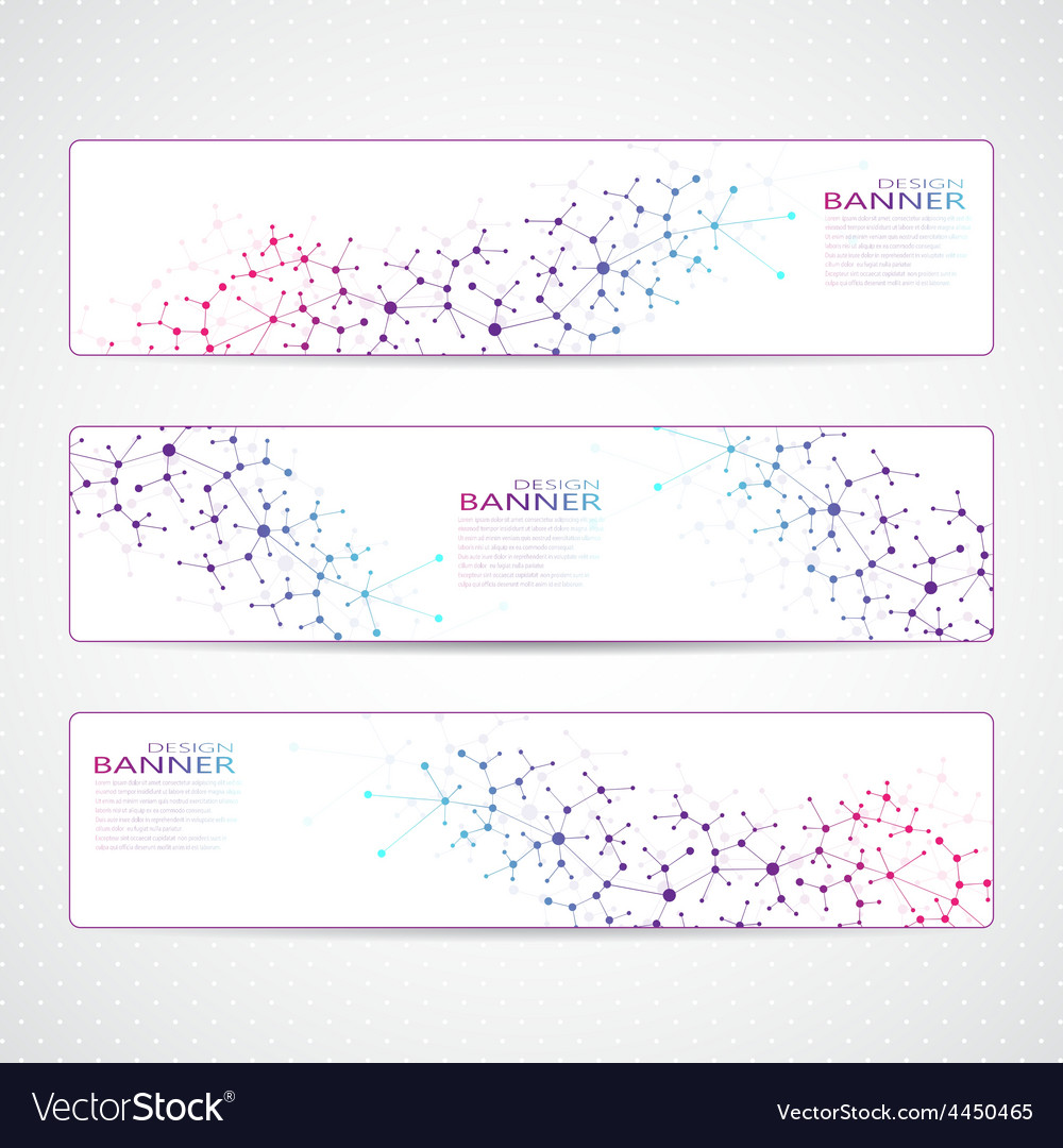 Colorful collection horizontal banners molecule vector | Price: 1 Credit (USD $1)