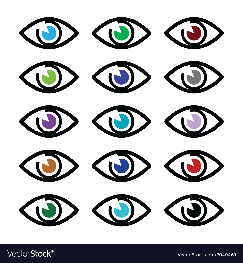 Eye colors sight icons set - icons set vector | Price: 1 Credit (USD $1)