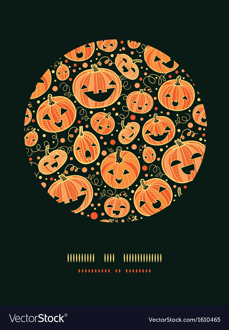 Halloween pumpkins circle decor pattern background vector | Price: 1 Credit (USD $1)