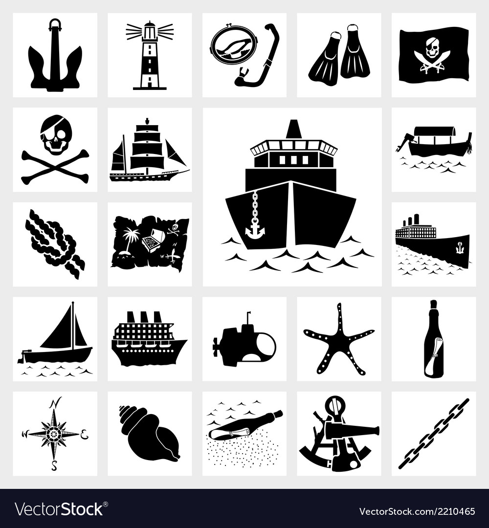 Icon set nautical vector | Price: 1 Credit (USD $1)