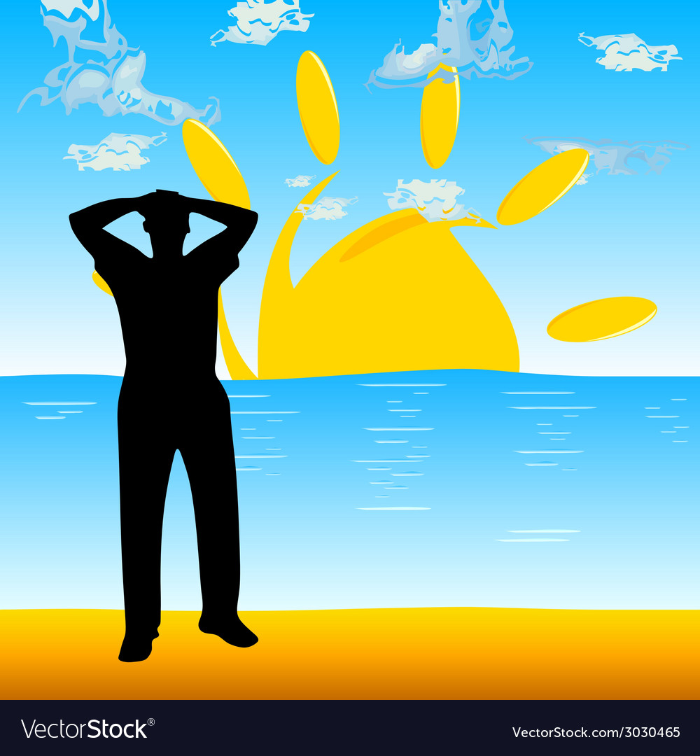 Man on the beach silhouette vector | Price: 1 Credit (USD $1)
