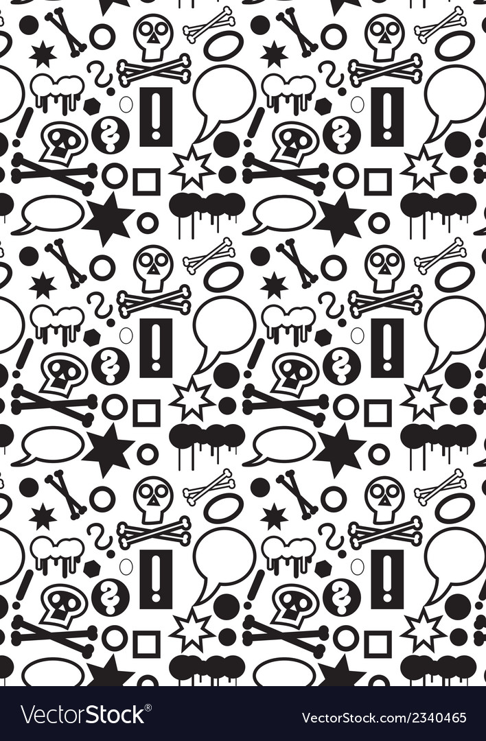 Seamless icons pattern bw vector | Price: 1 Credit (USD $1)