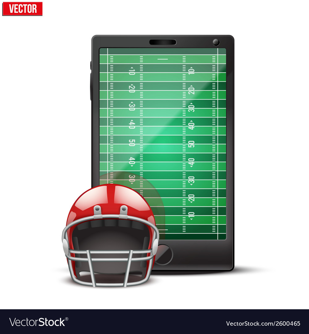 Smartphone with american football ball and field vector | Price: 1 Credit (USD $1)