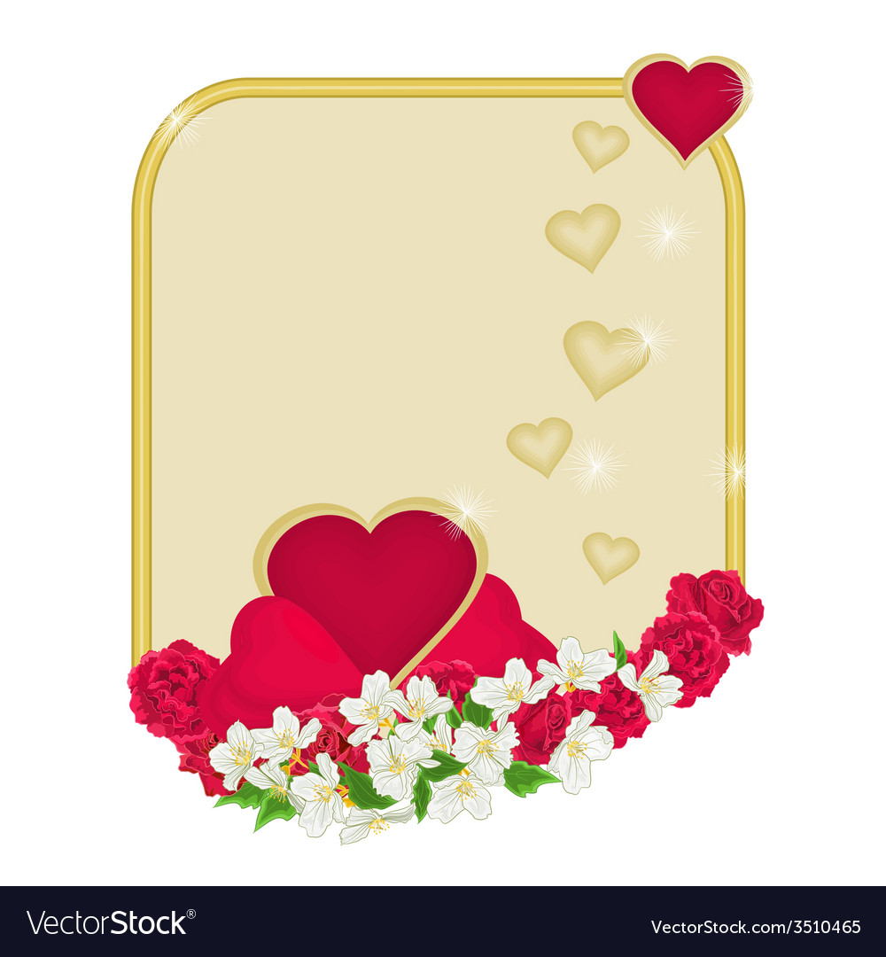 Valentines day frame of hearts with flowers vector | Price: 1 Credit (USD $1)
