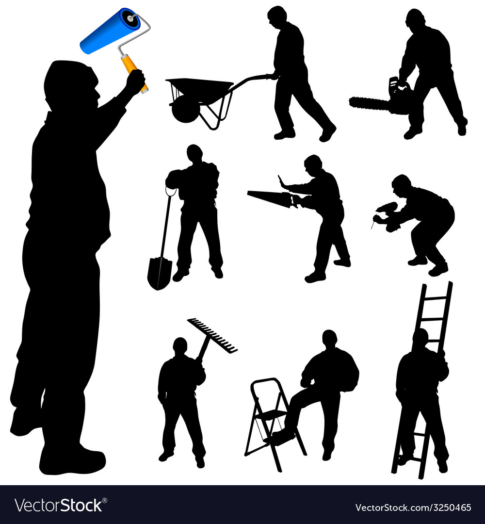 Workers in various trades and tools vector | Price: 1 Credit (USD $1)
