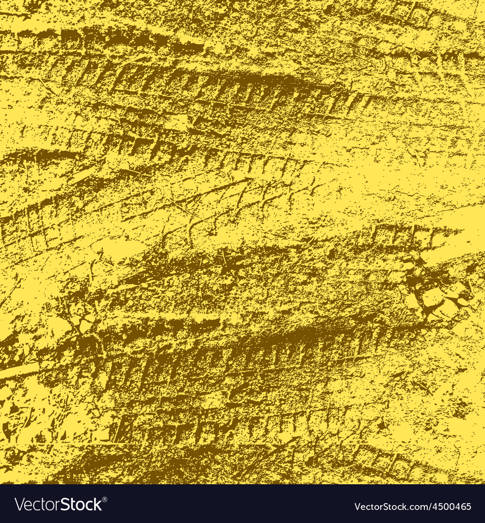 Yellow grunge background with black tire track vector | Price: 1 Credit (USD $1)