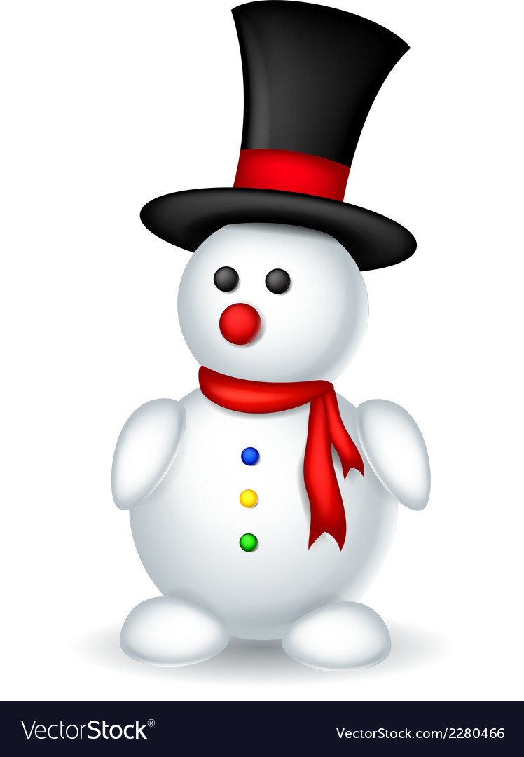 Cute snowman cartoon for you design vector | Price: 1 Credit (USD $1)