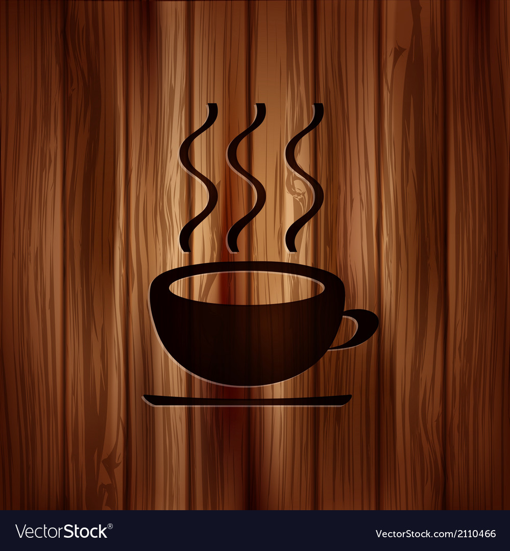 Hot drink web icon wooden background vector | Price: 1 Credit (USD $1)