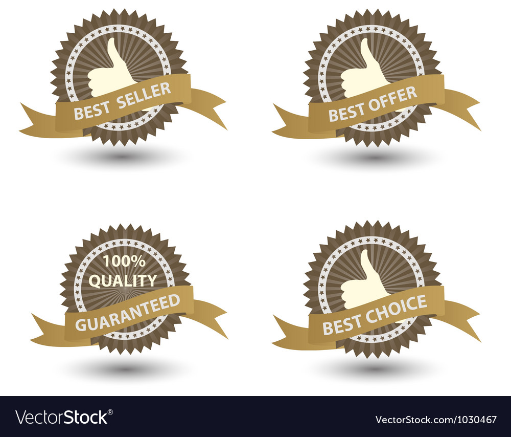 Best seller label with red ribbon vector | Price: 1 Credit (USD $1)