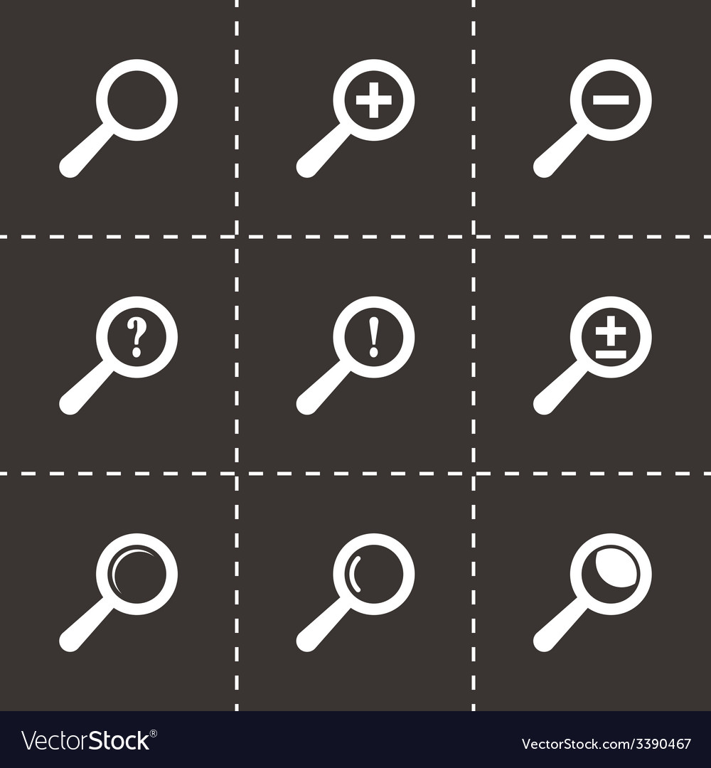 Black magnifier glass icons set vector | Price: 1 Credit (USD $1)
