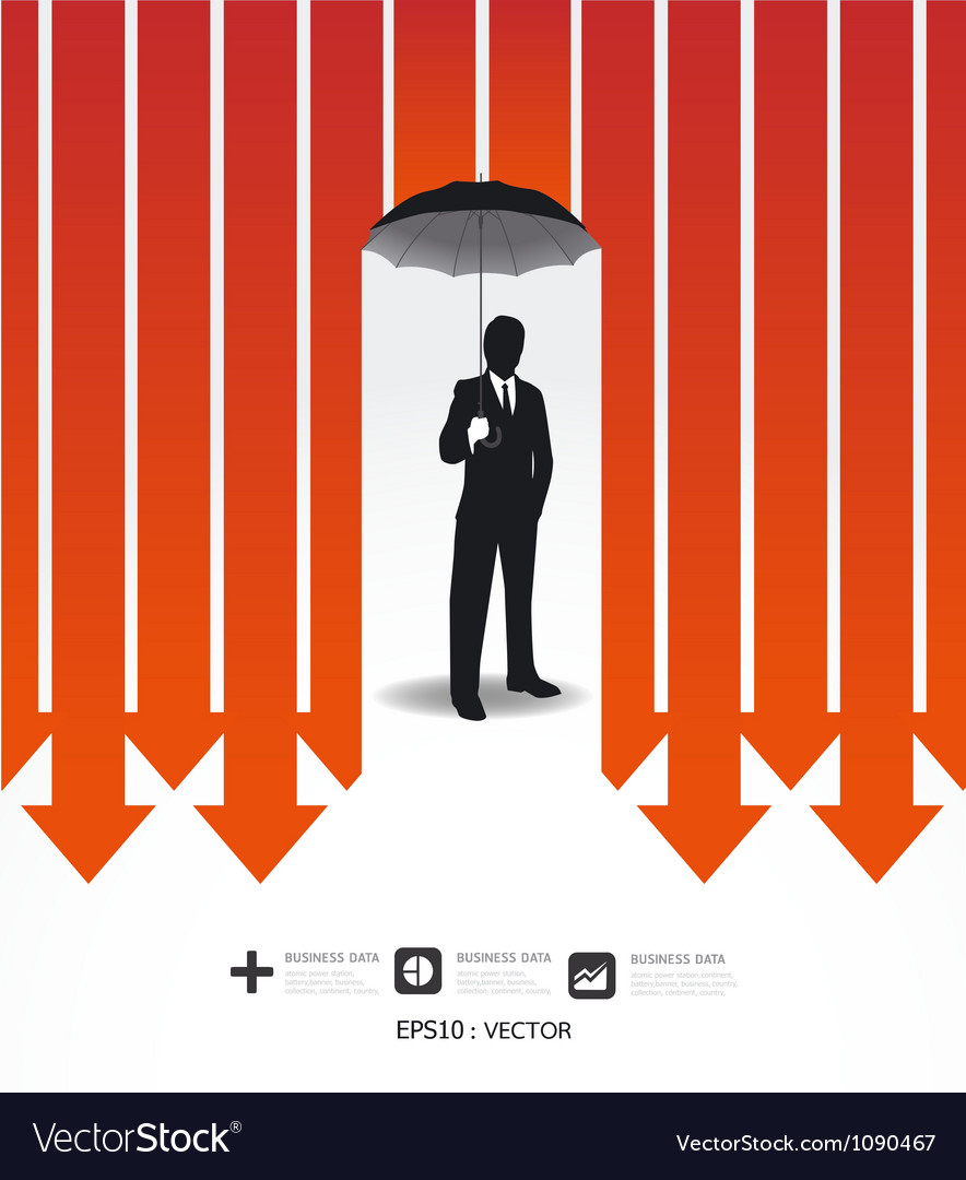 Businessman in umbrella creative finance safe idea vector | Price: 1 Credit (USD $1)