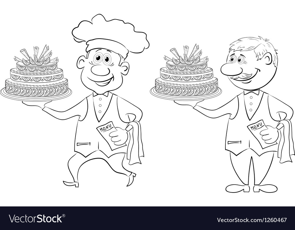 Cook and waiter with holiday cakes outline vector | Price: 1 Credit (USD $1)