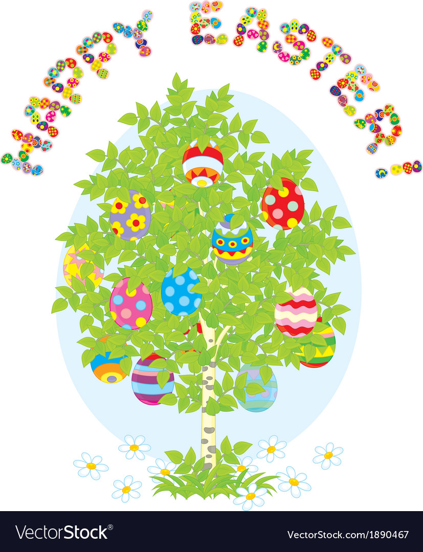 Easter eggs on a tree vector | Price: 1 Credit (USD $1)