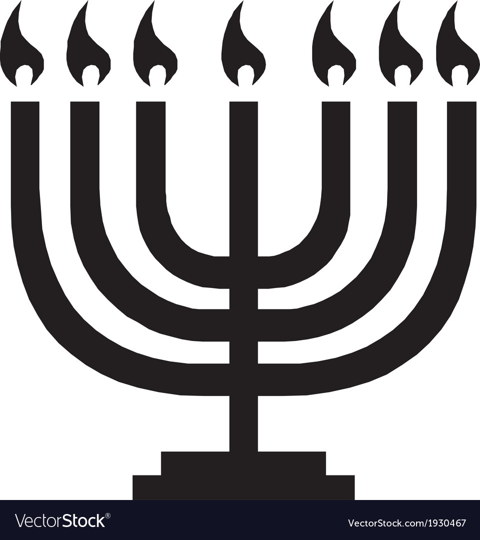 Hanukkah menorah with candles vector | Price: 1 Credit (USD $1)