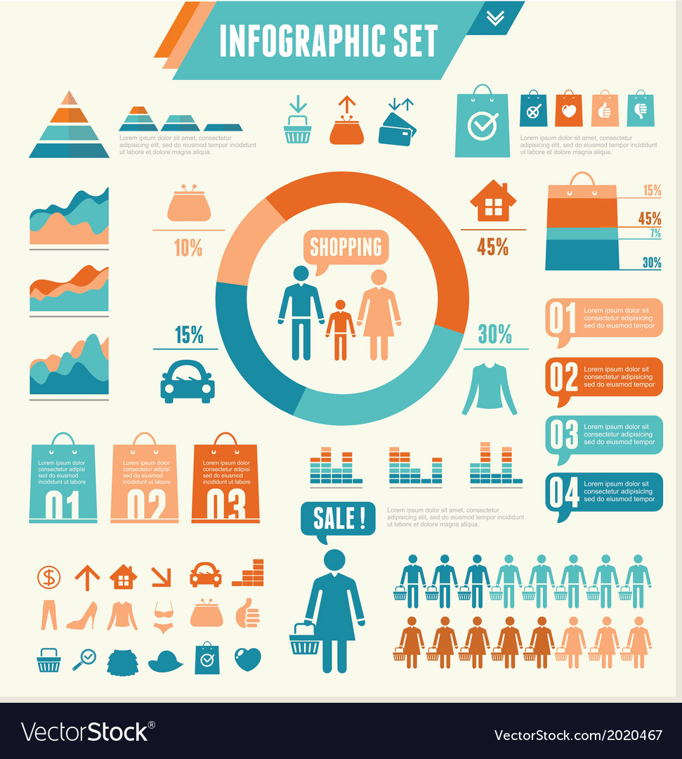 Infographics elements shopping vector | Price: 1 Credit (USD $1)