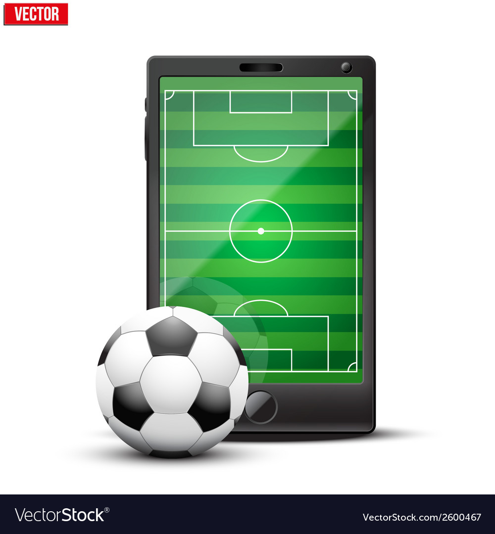 Smartphone with football ball and field on the vector | Price: 1 Credit (USD $1)