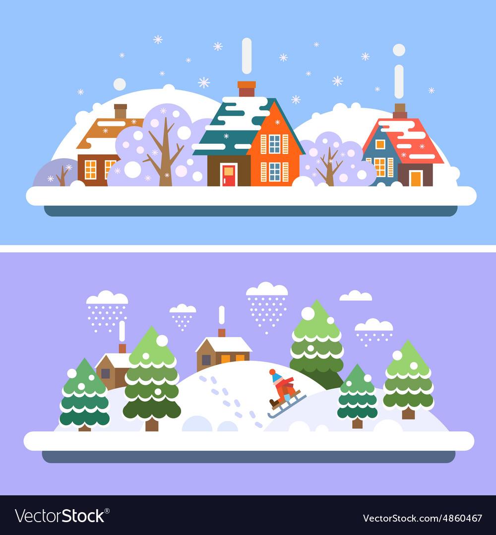 Winter village landscapes vector