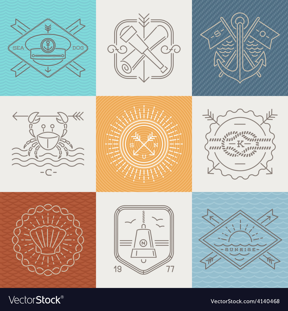 Adventures nautical and travel emblems and signs vector | Price: 1 Credit (USD $1)
