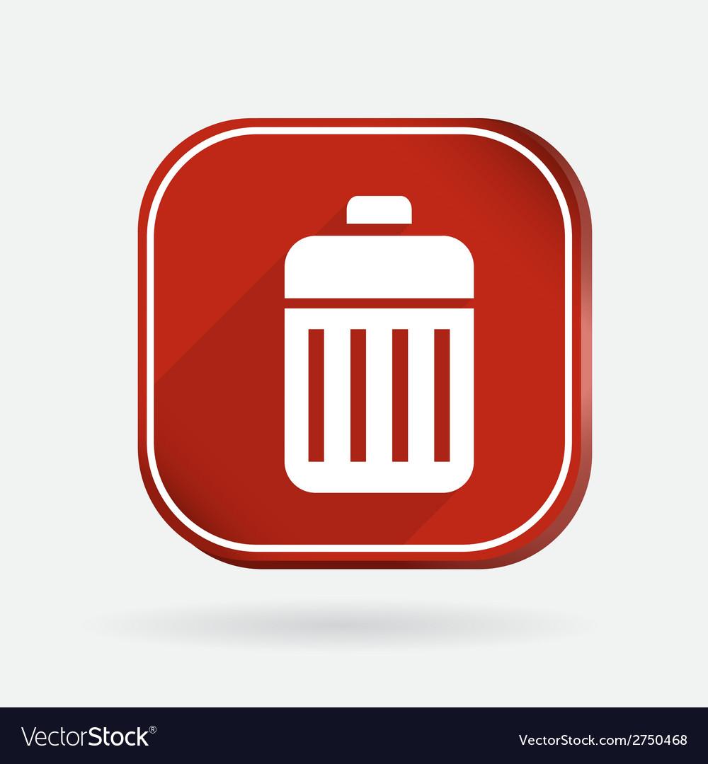 Basket garbage color square icon vector | Price: 1 Credit (USD $1)