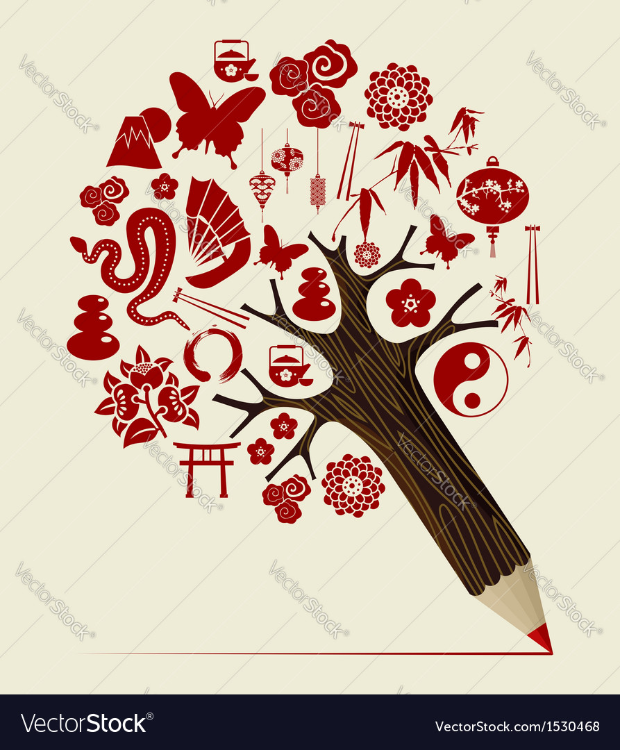 China tradition concept pencil tree vector | Price: 1 Credit (USD $1)