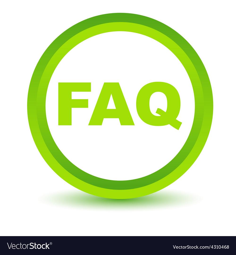 Green faq icon vector | Price: 1 Credit (USD $1)
